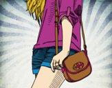 Desenho Menina com saco pintado por letician