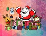 Desenho Papai Noel com presentes e alegria pintado por luaspezia