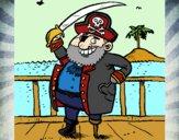 Desenho Pirata a bordo pintado por letician