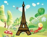 Desenho Torre Eiffel pintado por NAGIB