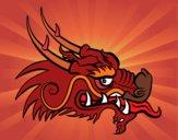 Desenho Cabeça de dragão vermelha pintado por luzinda