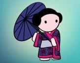Desenho Gueixa com guarda-chuva pintado por Tafelix