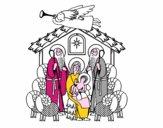 Desenho Nascimento de Jesus pintado por edet