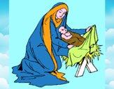 Desenho Nascimento do menino Jesús pintado por edet