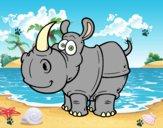 Desenho Rinoceronte-de-java pintado por daniel12