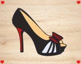 Sapato de plataforma com laço
