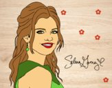 Desenho Selena Gomez com cabelo encaracolado pintado por Missim