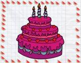 Desenho Torta de Aniversário pintado por luzinda