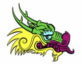 Desenho Cabeça de dragão vermelha pintado por Rosianne
