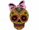 Desenho Caveira mexicana com laço pintado por Mentinha