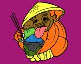 Desenho Chinês a comer arroz pintado por Rosianne