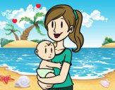 Desenho Em braços da mãe pintado por Missim