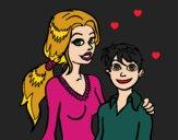Desenho Mãe e filho  pintado por Missim