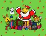 Papai Noel com presentes e alegria