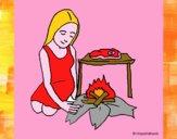 Mulher a cozinhar