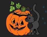 Desenho Abóbora e gato pintado por Missim