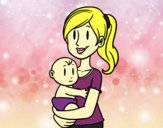 Desenho Em braços da mãe pintado por MayBarbe