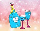 Garrafas de champanhe e taças