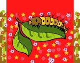 Desenho Lagarta numa folha pintado por veraluz
