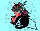 Mãe gata e gatinhos