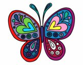 Desenho Mandala borboleta pintado por luzinda