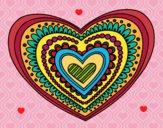 Desenho Mandala coração pintado por Leiliana