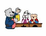 Professor urso e seus alunos