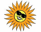 Sol com óculos de sol