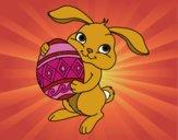 Desenho Coelho com ovo Páscoa pintado por Missim