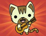 Desenho Gato guitarrista pintado por GiRomani