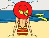 Desenho Mulher que olha o mar pintado por Missim