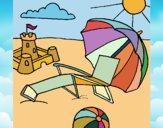 Desenho Praia pintado por Begonha