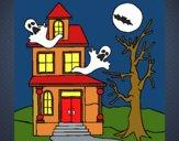 Desenho Casa do terror pintado por gisel