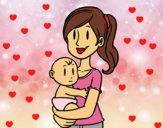 Desenho Em braços da mãe pintado por annablly