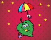 Desenho Folha com chapéu de chuva pintado por marilurdes