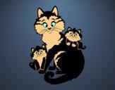 Desenho Mãe gata e gatinhos pintado por gisel