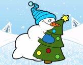 Boneco de neve abraçando árvore