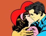 Desenho Casal a beijarem-se pintado por shirloka