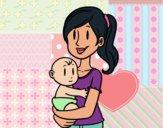 Desenho Em braços da mãe pintado por shirloka