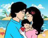 Desenho Família abraço pintado por 2901