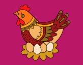 Desenho Galinha com ovos de Páscoa pintado por shirloka