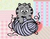 Desenho Gato com un novelo de lã pintado por BelMorim