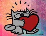 Desenho Gato e coração pintado por BelMorim