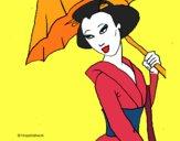 Geisha com chapéu de chuva