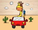 Desenho Girafa de condução pintado por Lenny