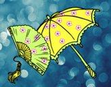 Desenho Leque e guarda-chuva pintado por marilurdes