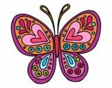 Desenho Mandala borboleta pintado por Annefelipe