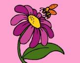 Desenho Margarida com abelha pintado por Dabejon