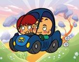 Desenho Meninos conduzindo pintado por Lenny