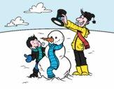 Pai e filho na neve